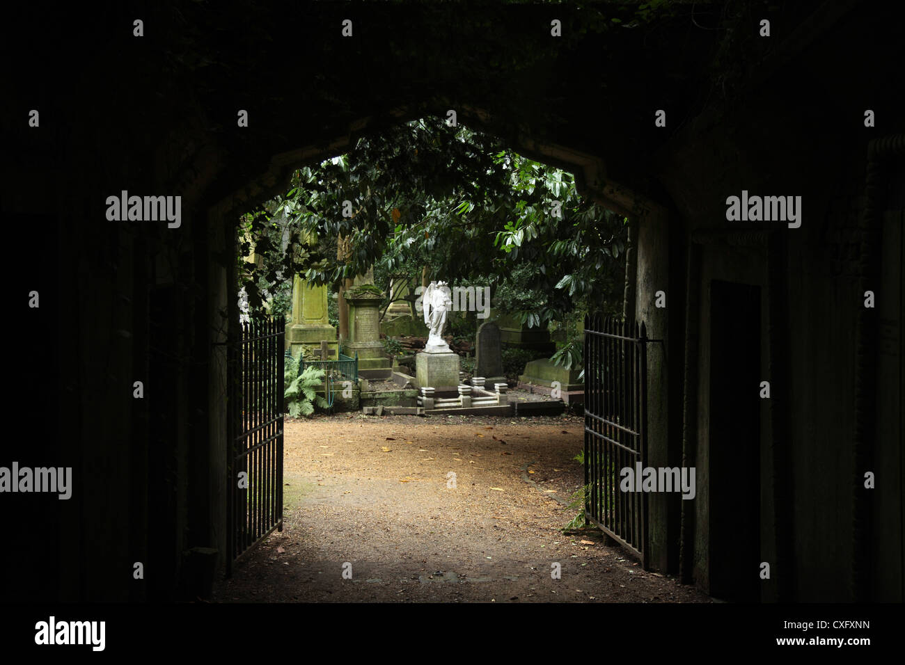 Egyptian Gate at the Highgate Cemetery West in London England - Stock Image
