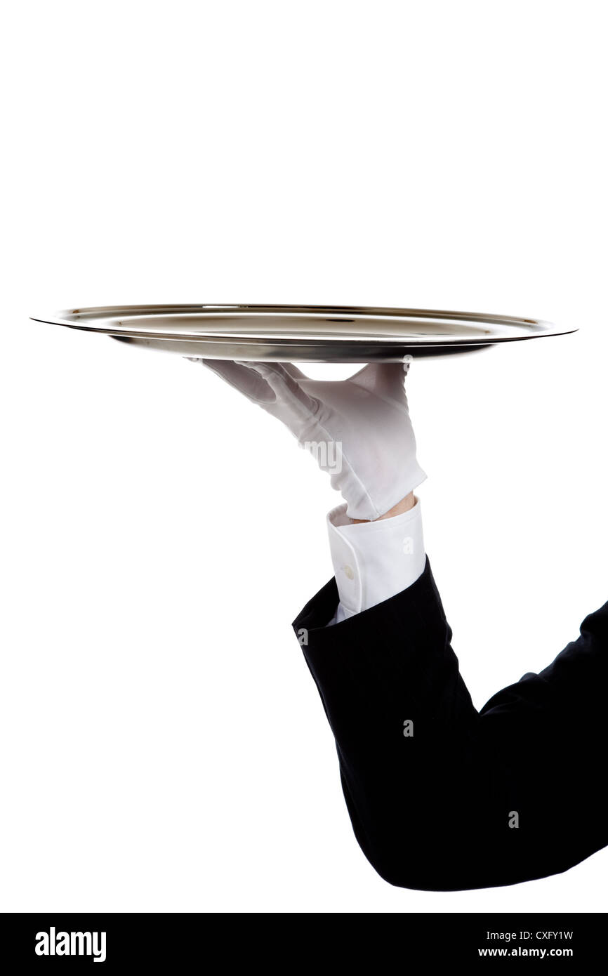 Waiter's arm holding silver tray - Stock Image