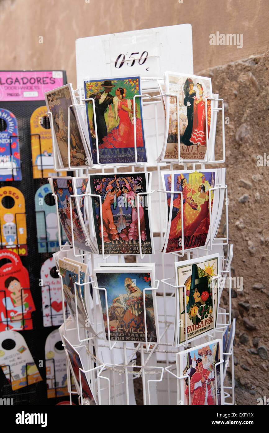 Rack of postcards in Seville Spain with pictures of Spanish  Flamenco dancers dancing - Stock Image