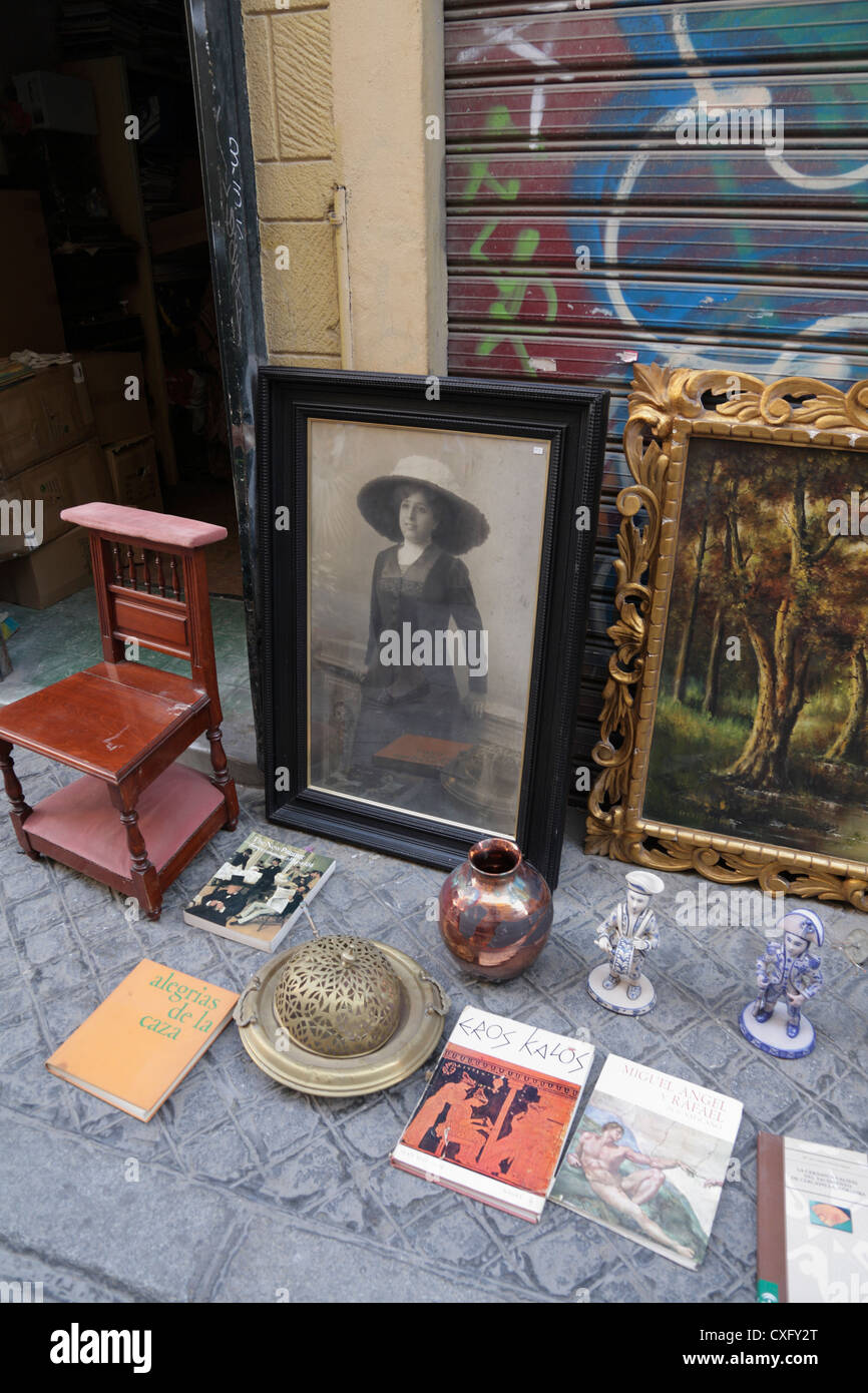Weekly fleamarket  in la Macarena district of Seville - Stock Image