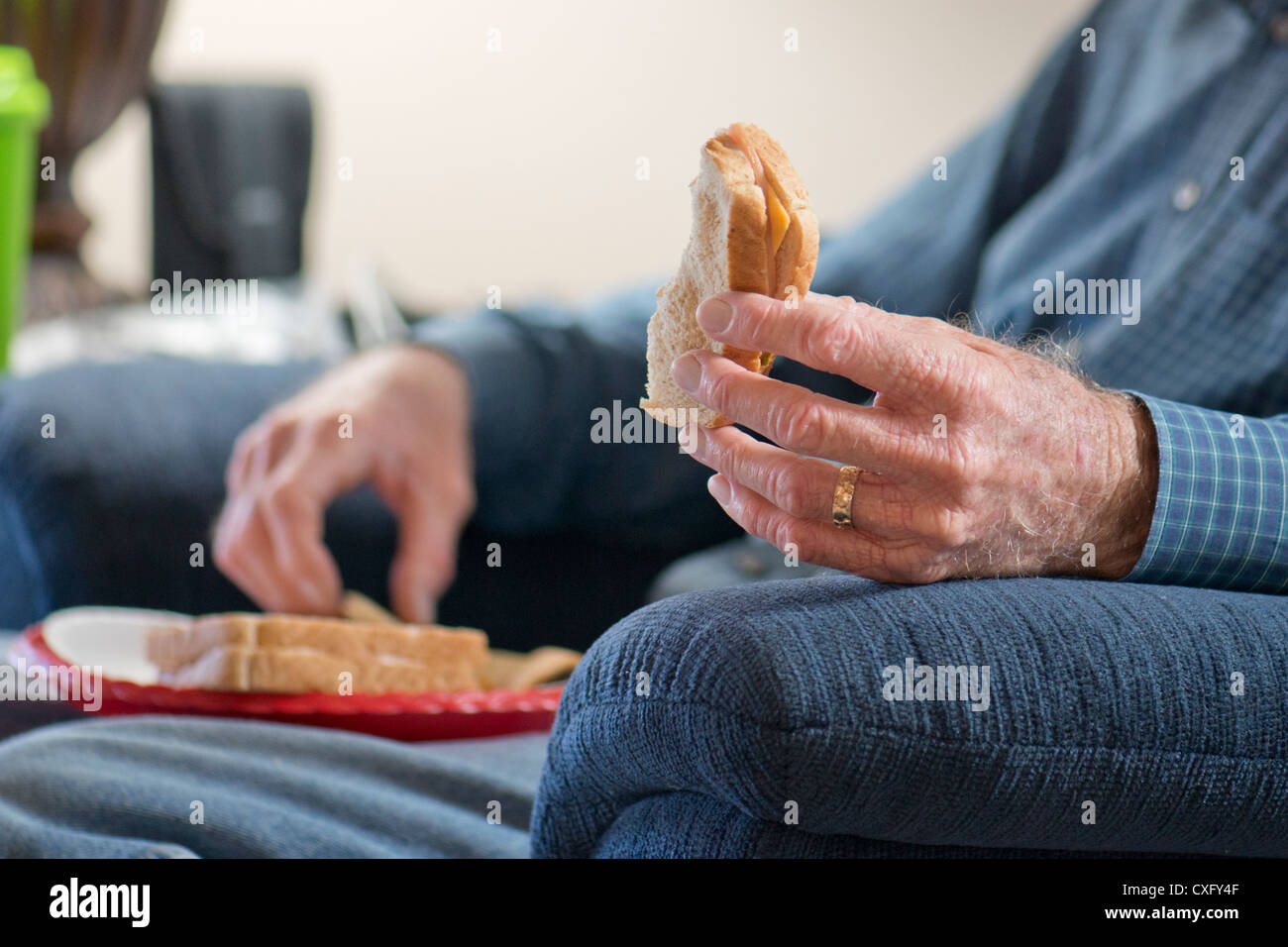 An elderly man, eats sandwiches on a paper plate while sitting in his recliner. Closeup view of hands. USA - Stock Image