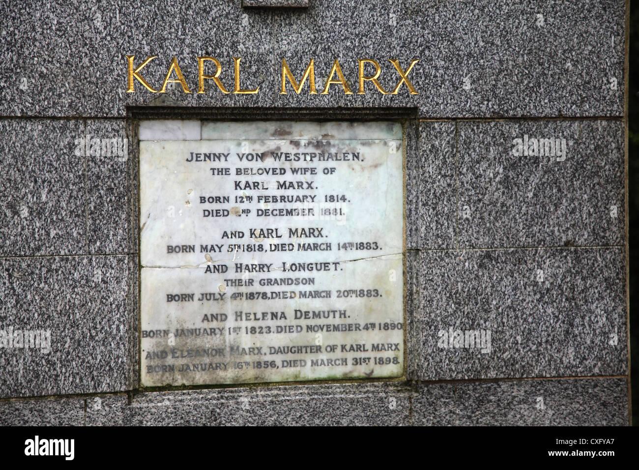 Karl Marx Grave inscription at Highgate Cemetery London - Stock Image