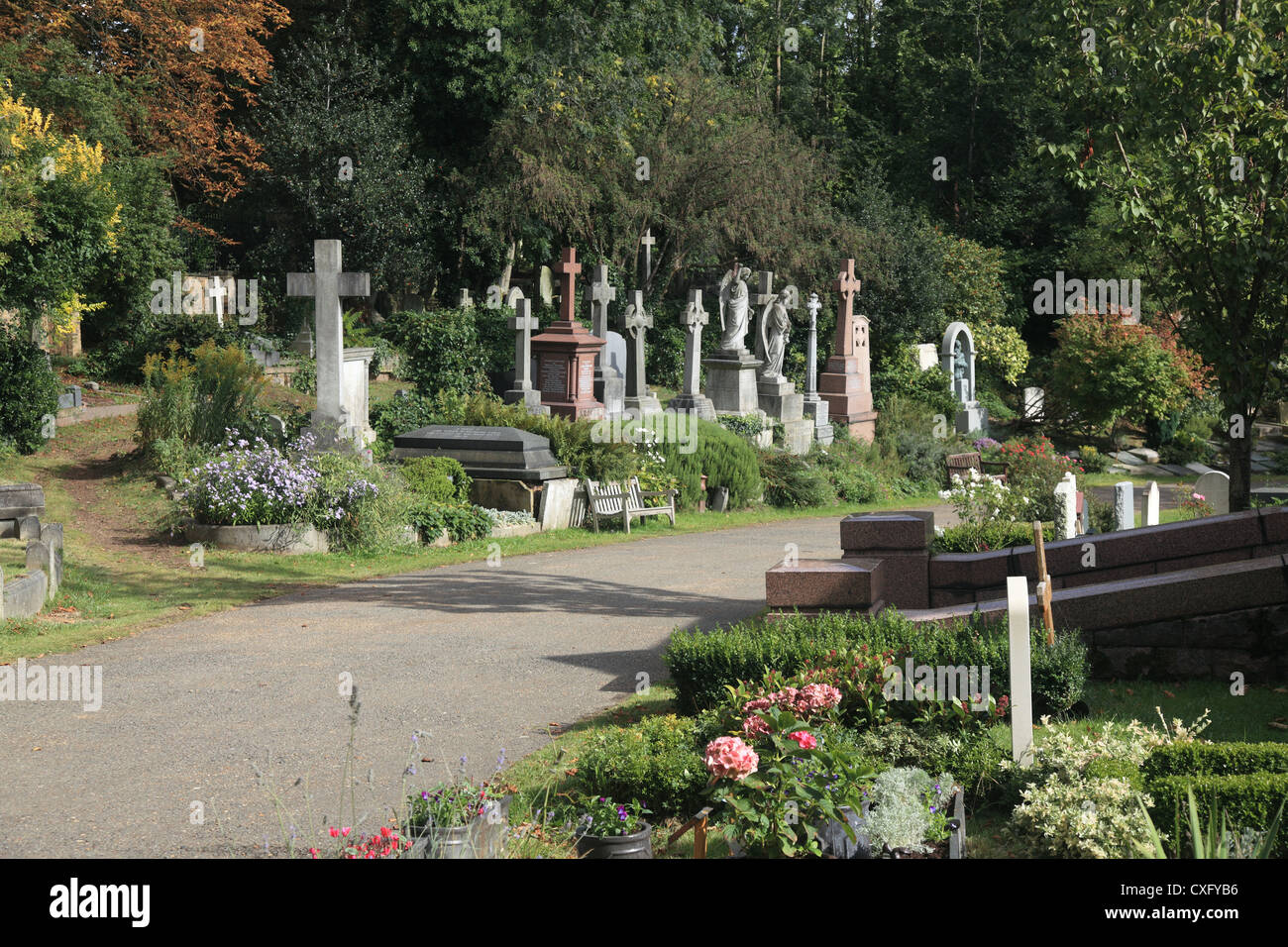 The Highgate East Cemetery in London England Stock Photo