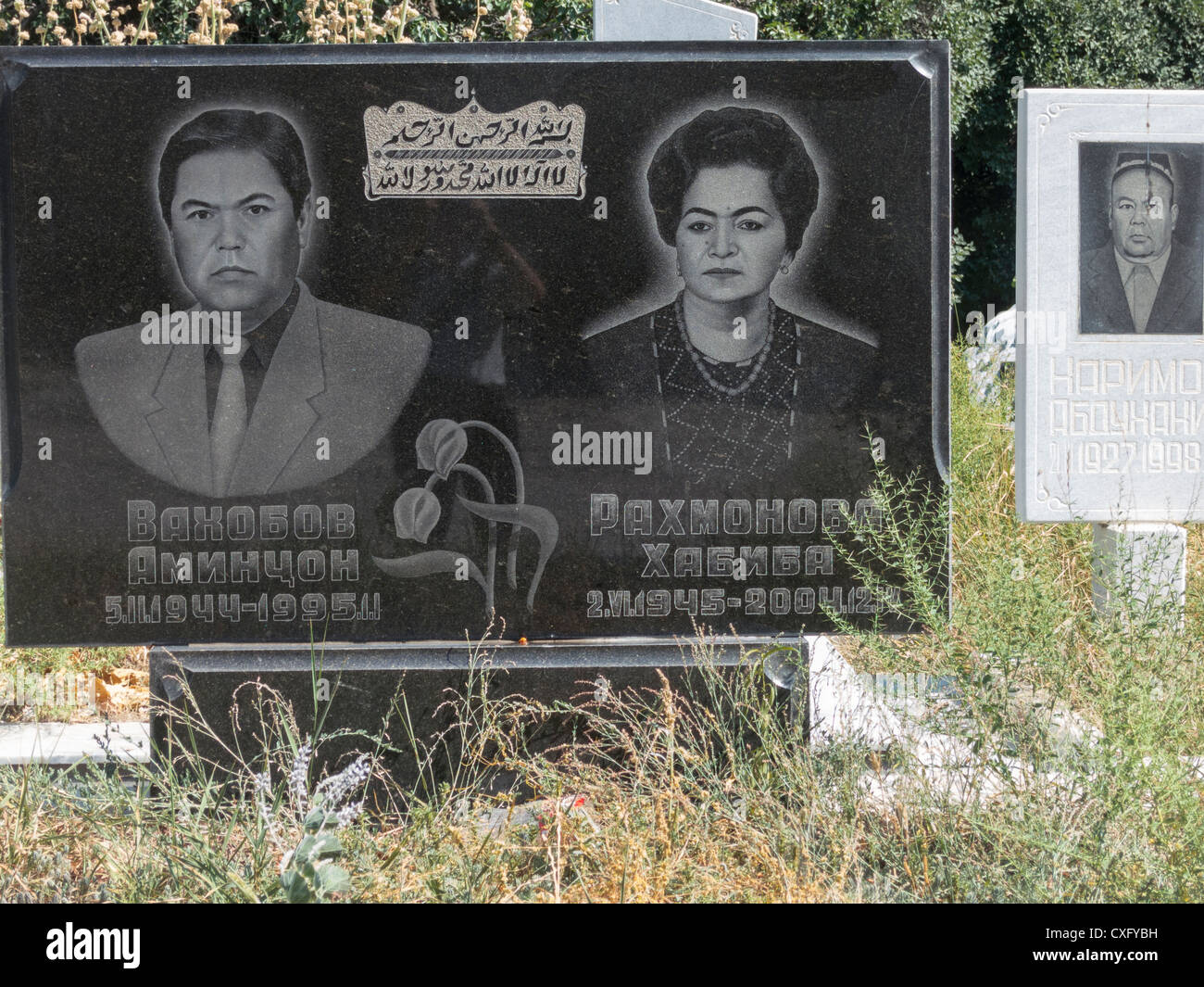 tombstone with photographic reproduction of deceased, Samarkand, Uzbekistan - Stock Image