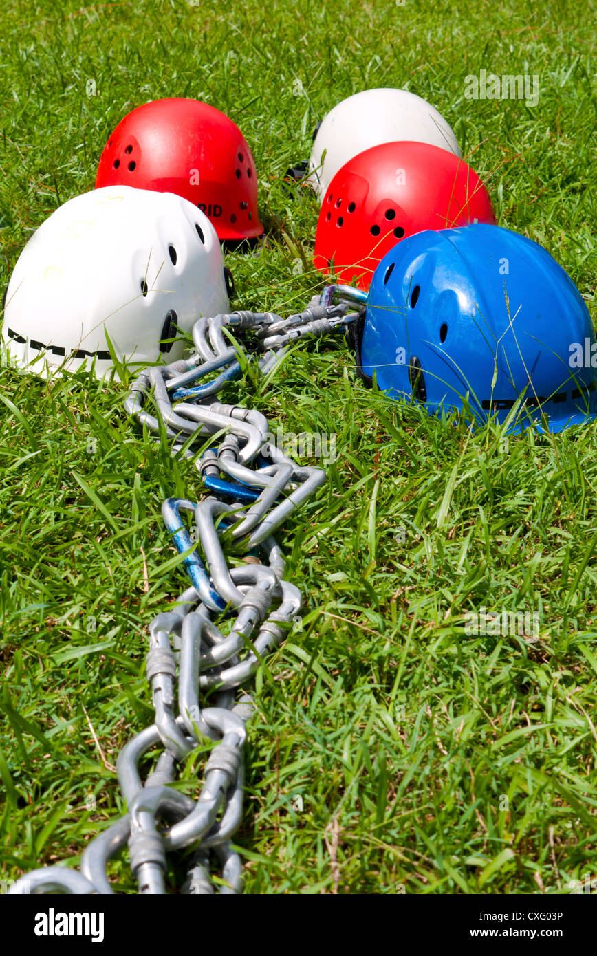 A shot of some safety equipment ready for use when climbing high trees or structures - Stock Image