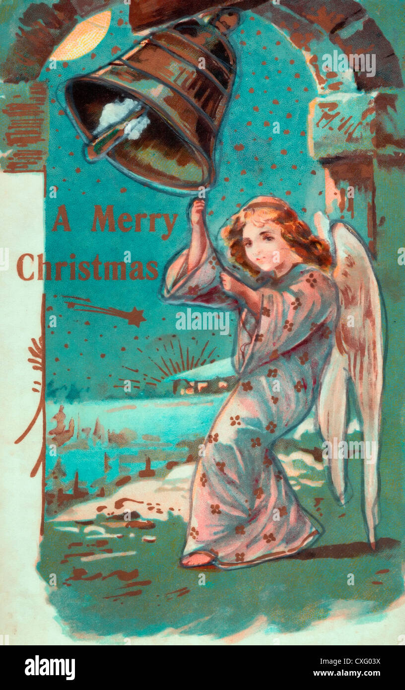 A Merry Christmas - Angel ringing bell to celebrate Christmas - Vintage card - Stock Image