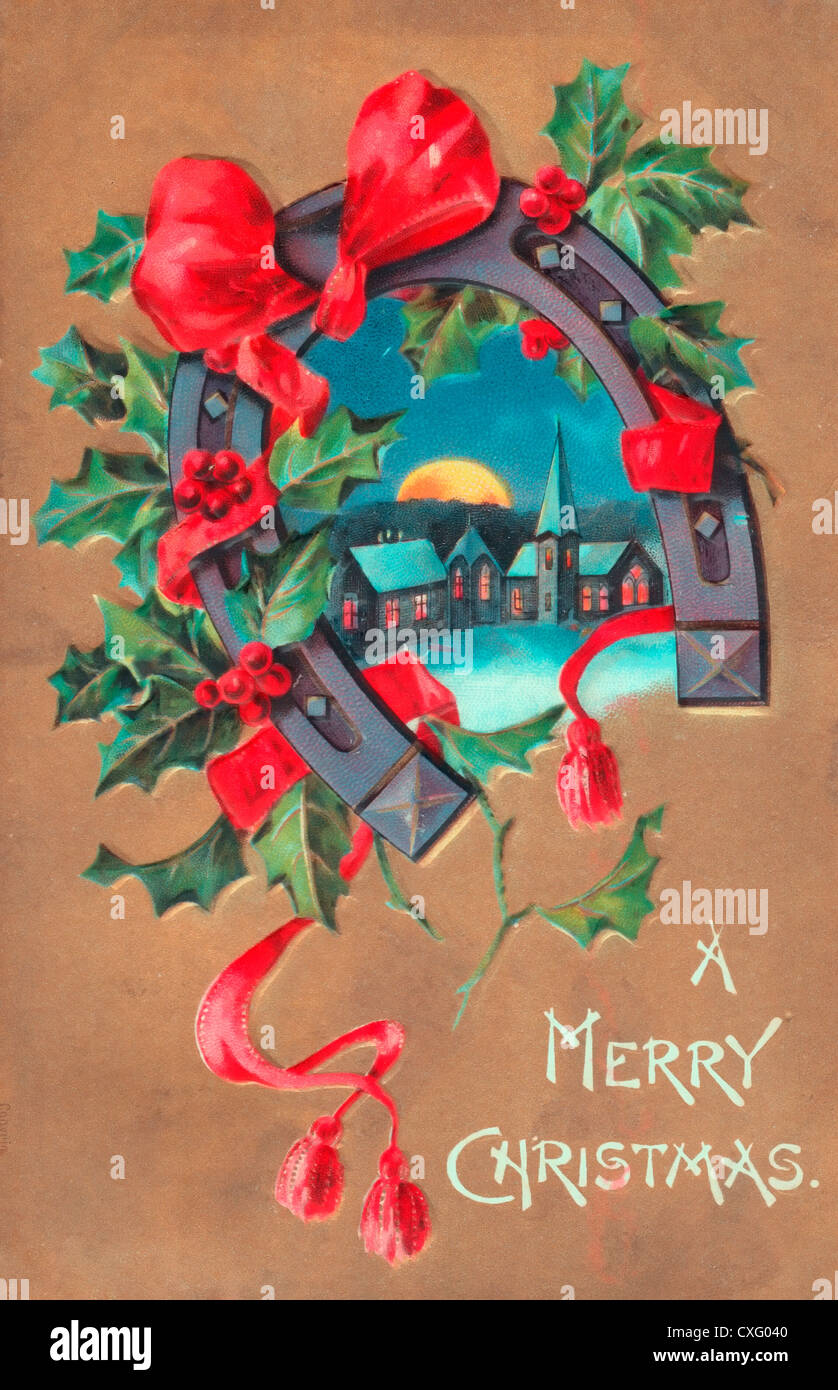 a merry christmas vintage christmas card with horseshoe stock image - Vintage Christmas Pictures