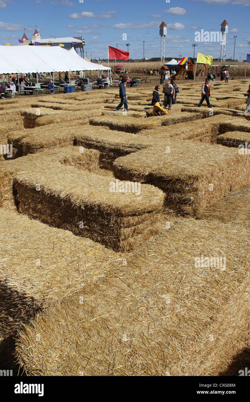 People playing on a hay maze. - Stock Image