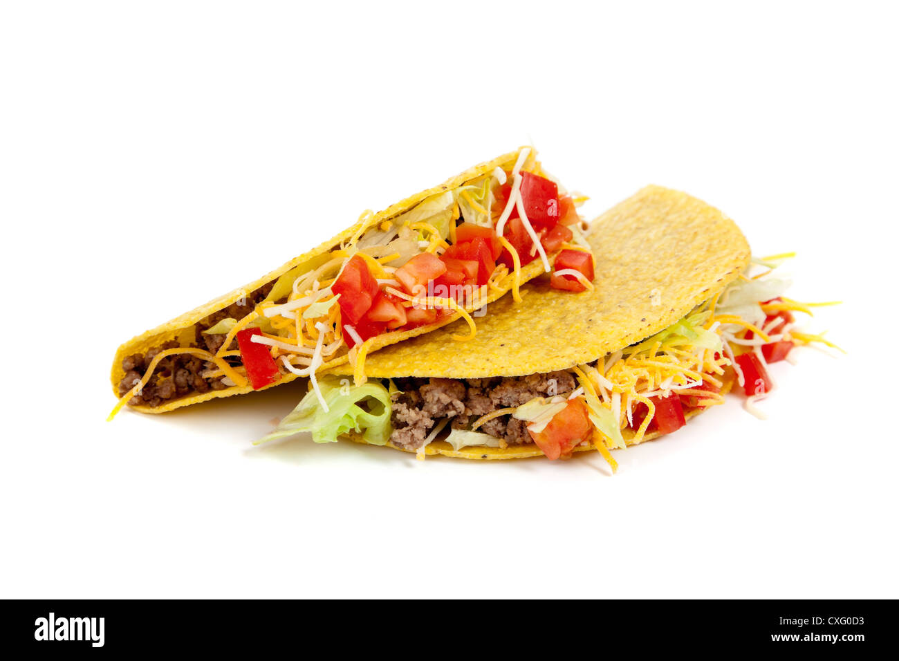 Two tacos on a white background - Stock Image