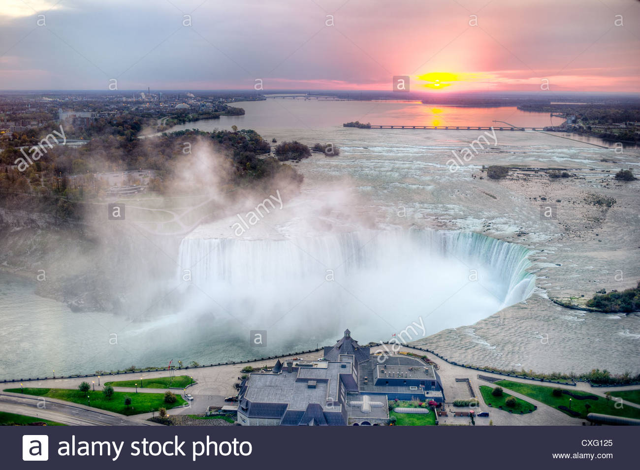 Horseshoe Falls of Niagara Falls photographed just after sunrise from the Canadian side of the falls. This is an - Stock Image
