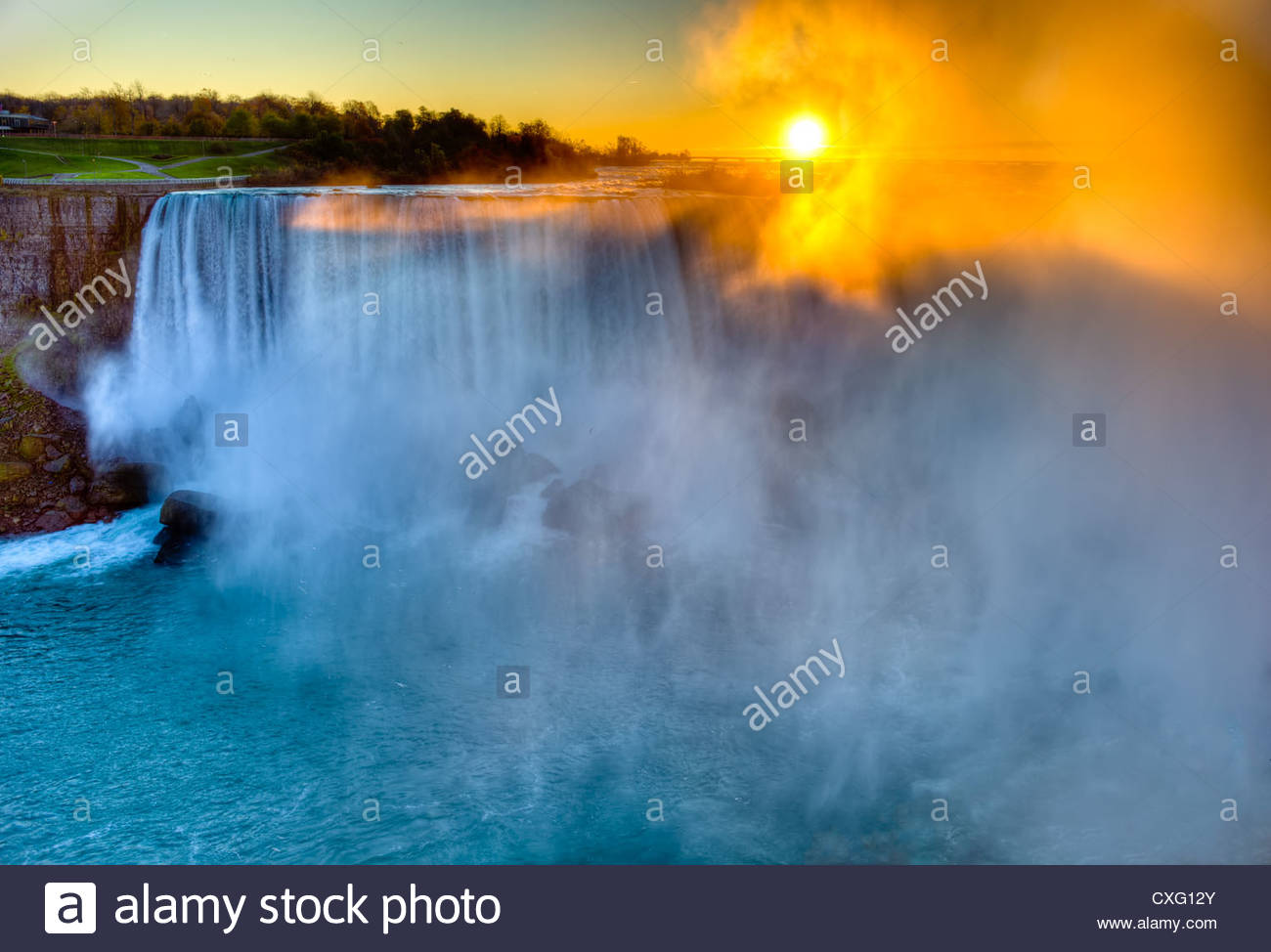 the Right side of the Horse Shoe Falls of Niagara Falls looking from the Canadian side at sunrise. This is an HDR - Stock Image