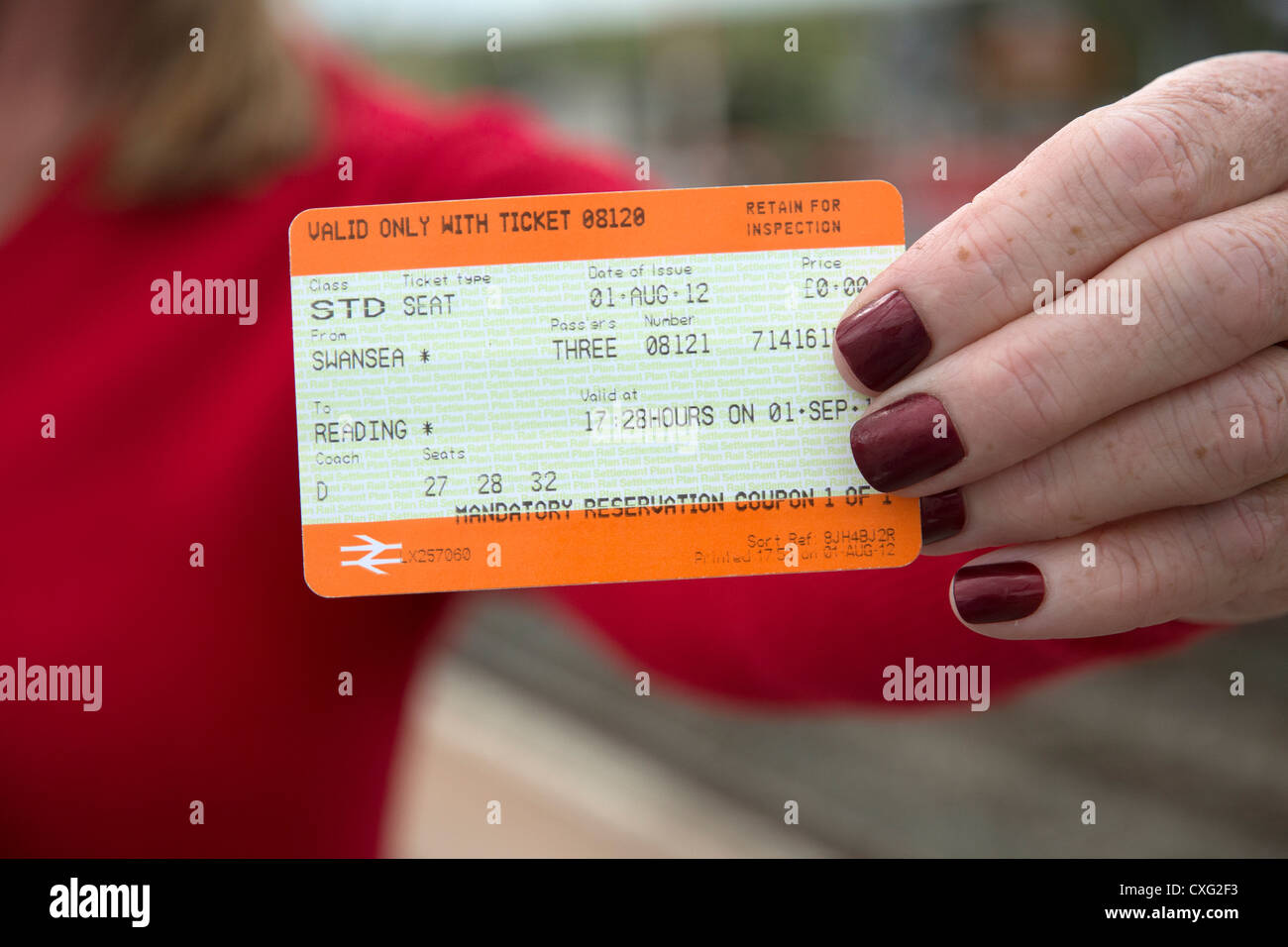 Mandatory Reservation coupon for travel on railway system - Stock Image