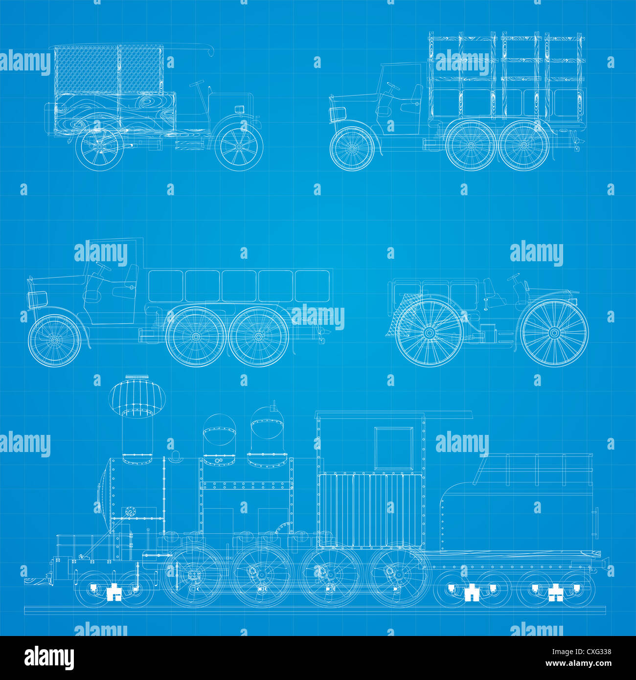 Old transportation vehicles and steam locomotive blueprint design old transportation vehicles and steam locomotive blueprint design malvernweather Image collections