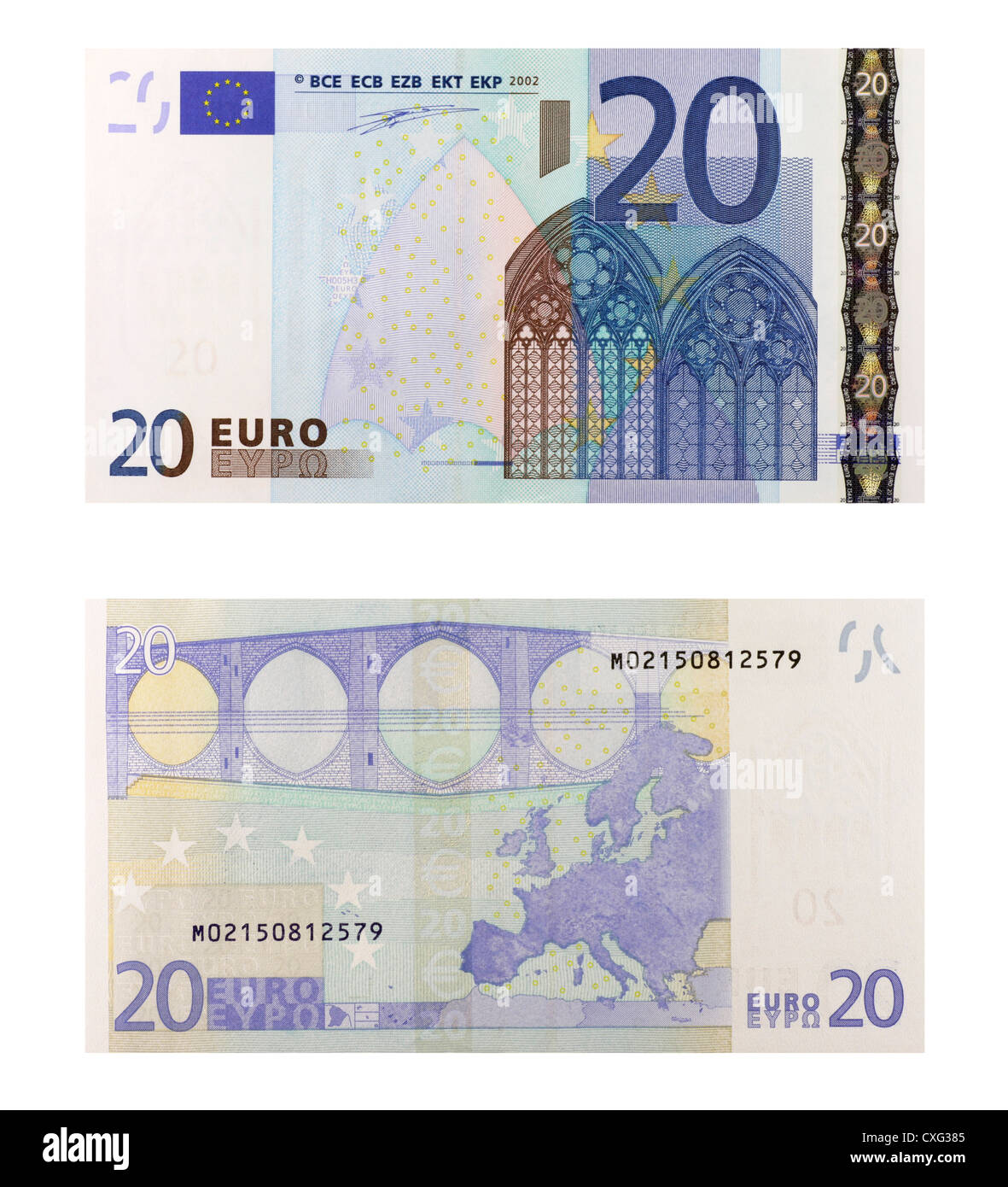 20 euro banknote isolated in white - Stock Image