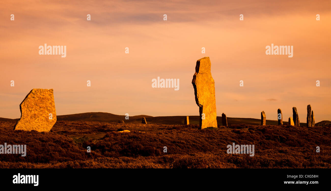 Brodgar Standing Stones at sunset, Orkney Isles, Scotland - Stock Image