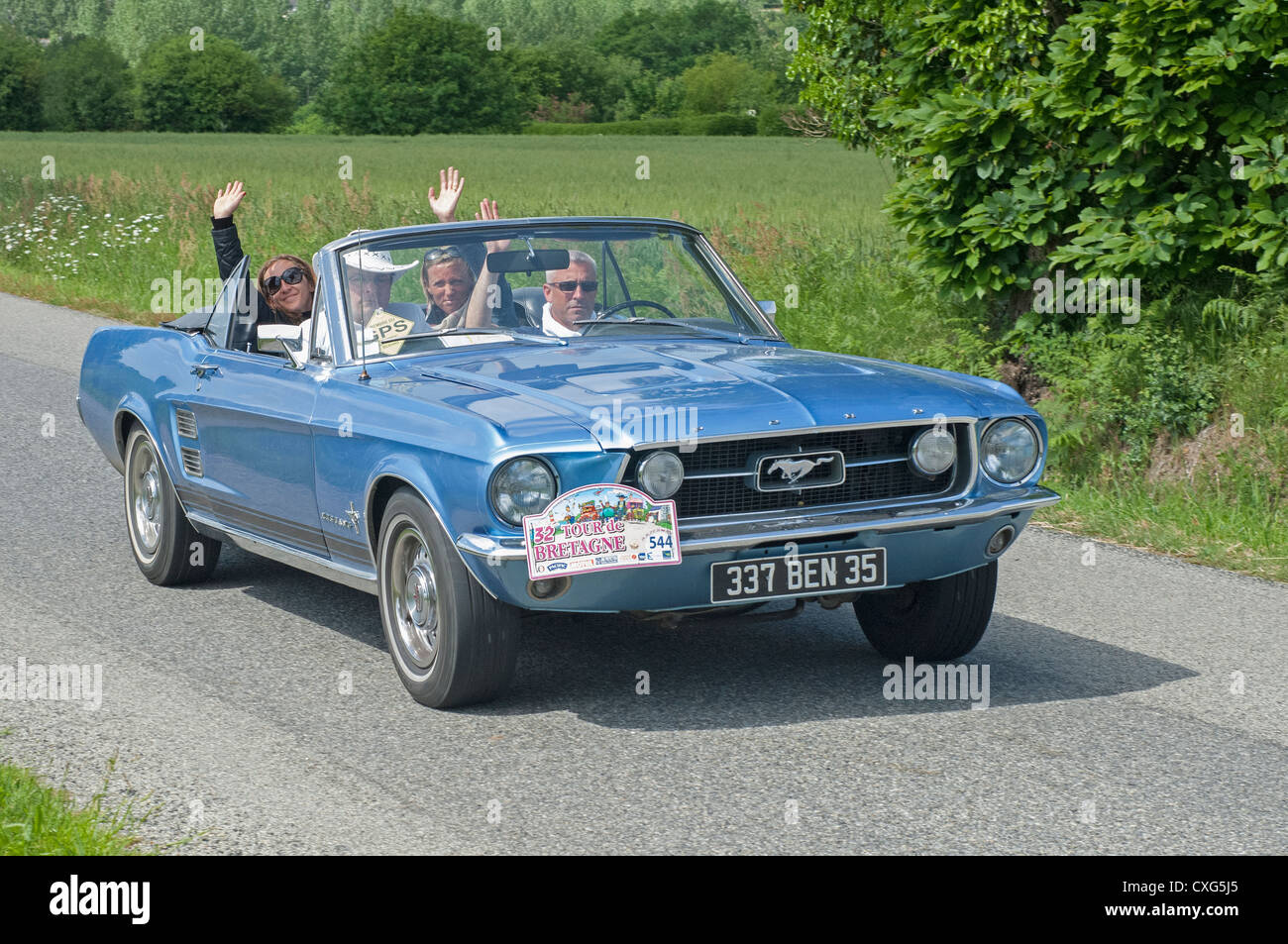 Ford mustang cabriolet of 1967 in the tour de bretagne france 2012 stock