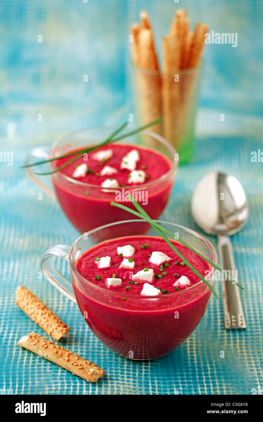 Beetroot gazpacho. Recipe available - Stock Image