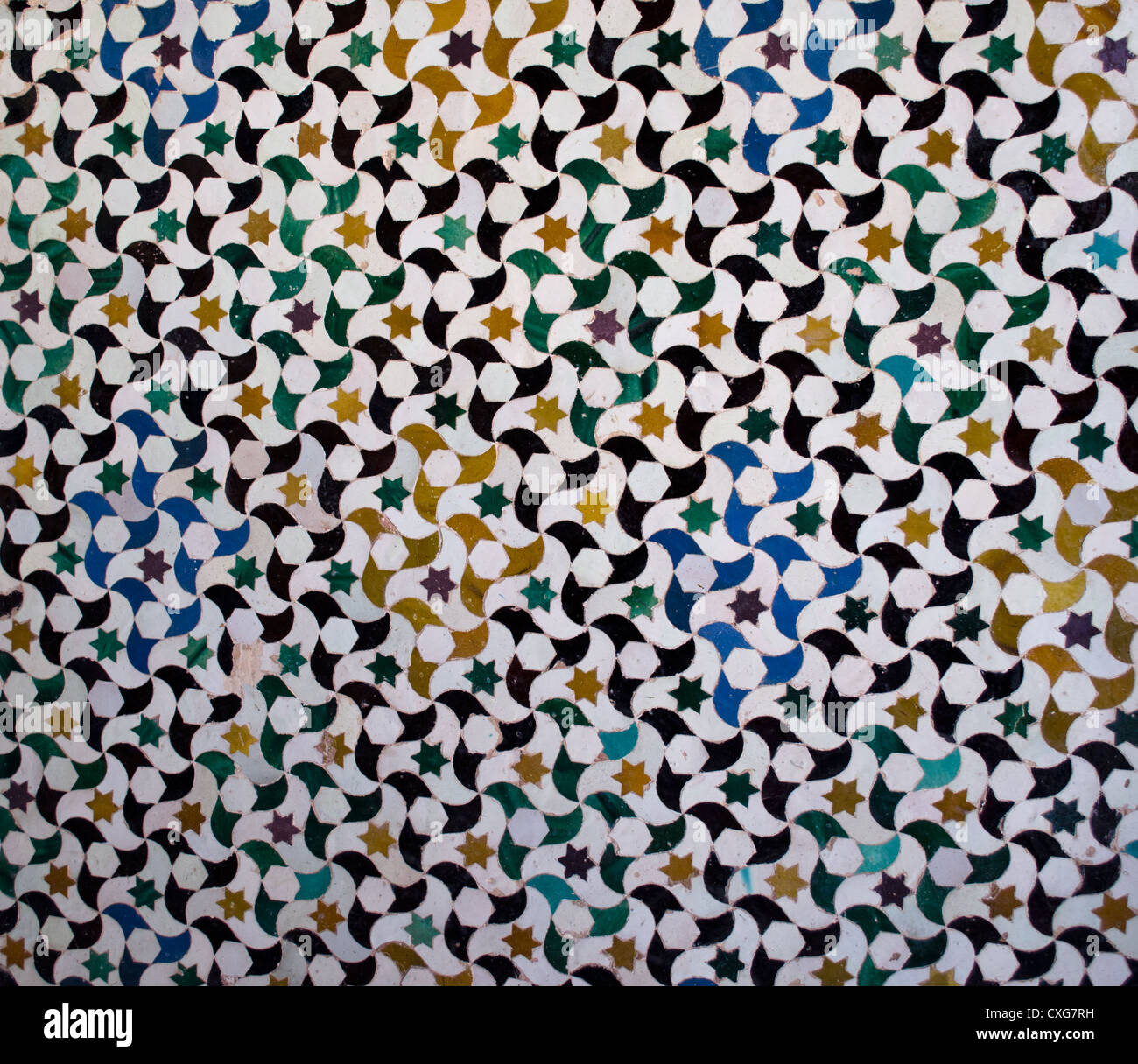 Pattern or texture of ceramic tiles mosaic found in the Alhambra, in ...