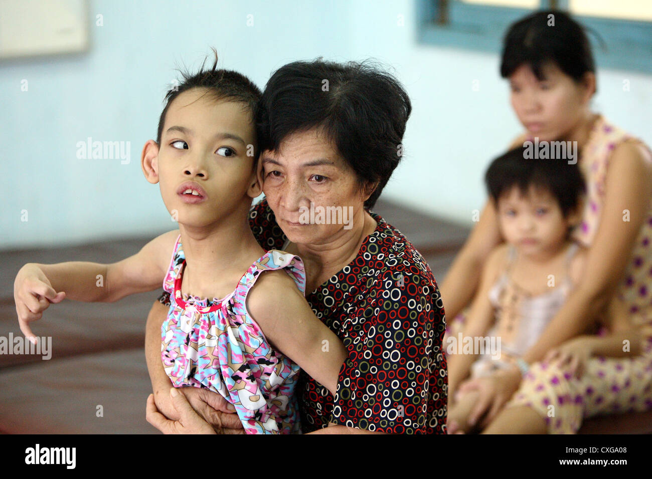 Rehabilitation center for mentally and handicapped.All in Ho Chi Minh City - Stock Image