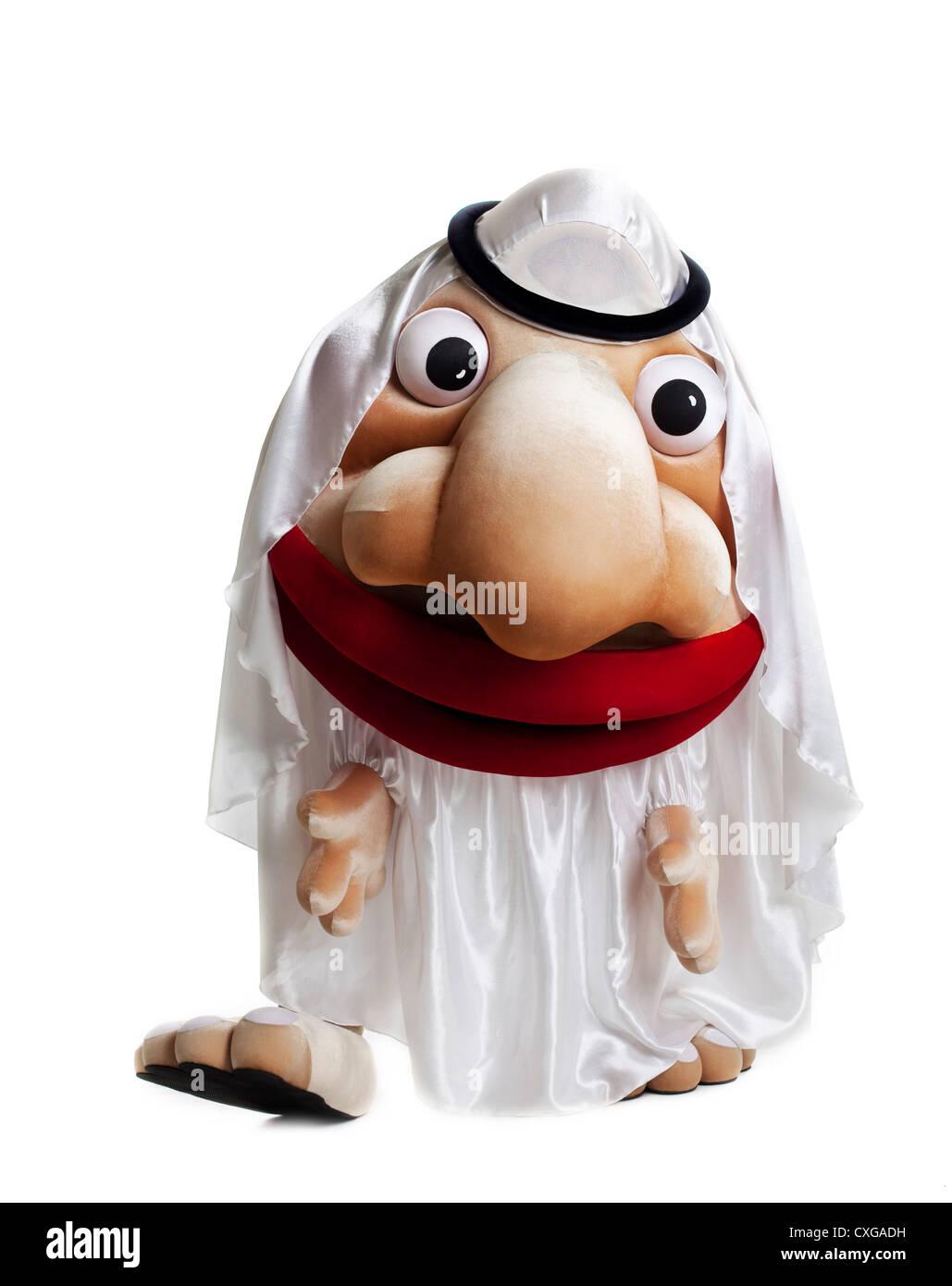 traditional arabian mascot costume isolated - Stock Image