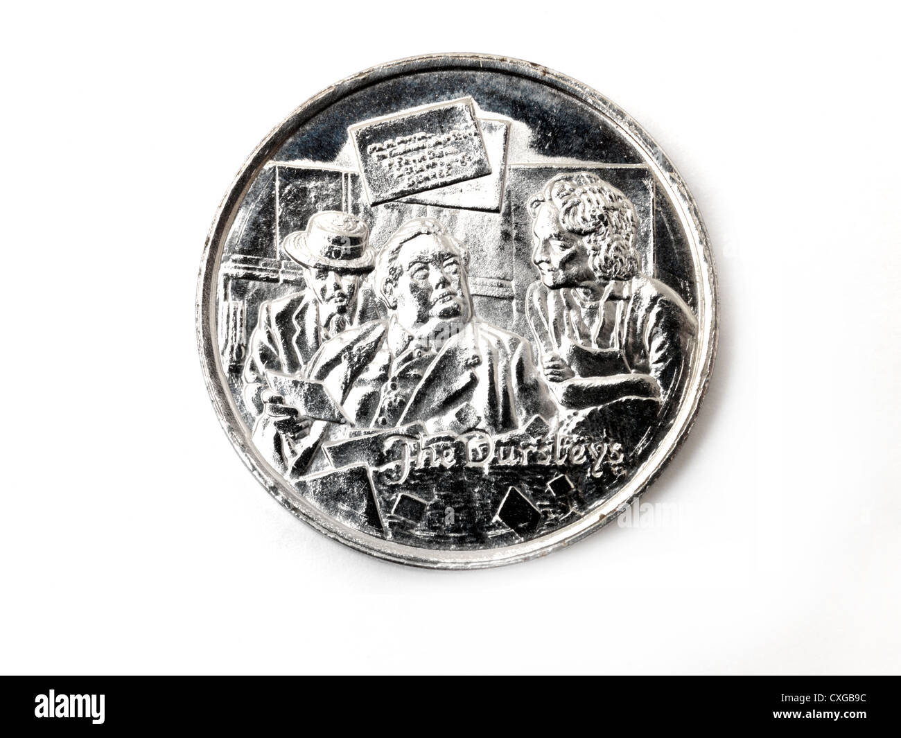 Harry Potter And The philosopher's Stone Collectors Coin Depicting The Dursleys - Stock Image