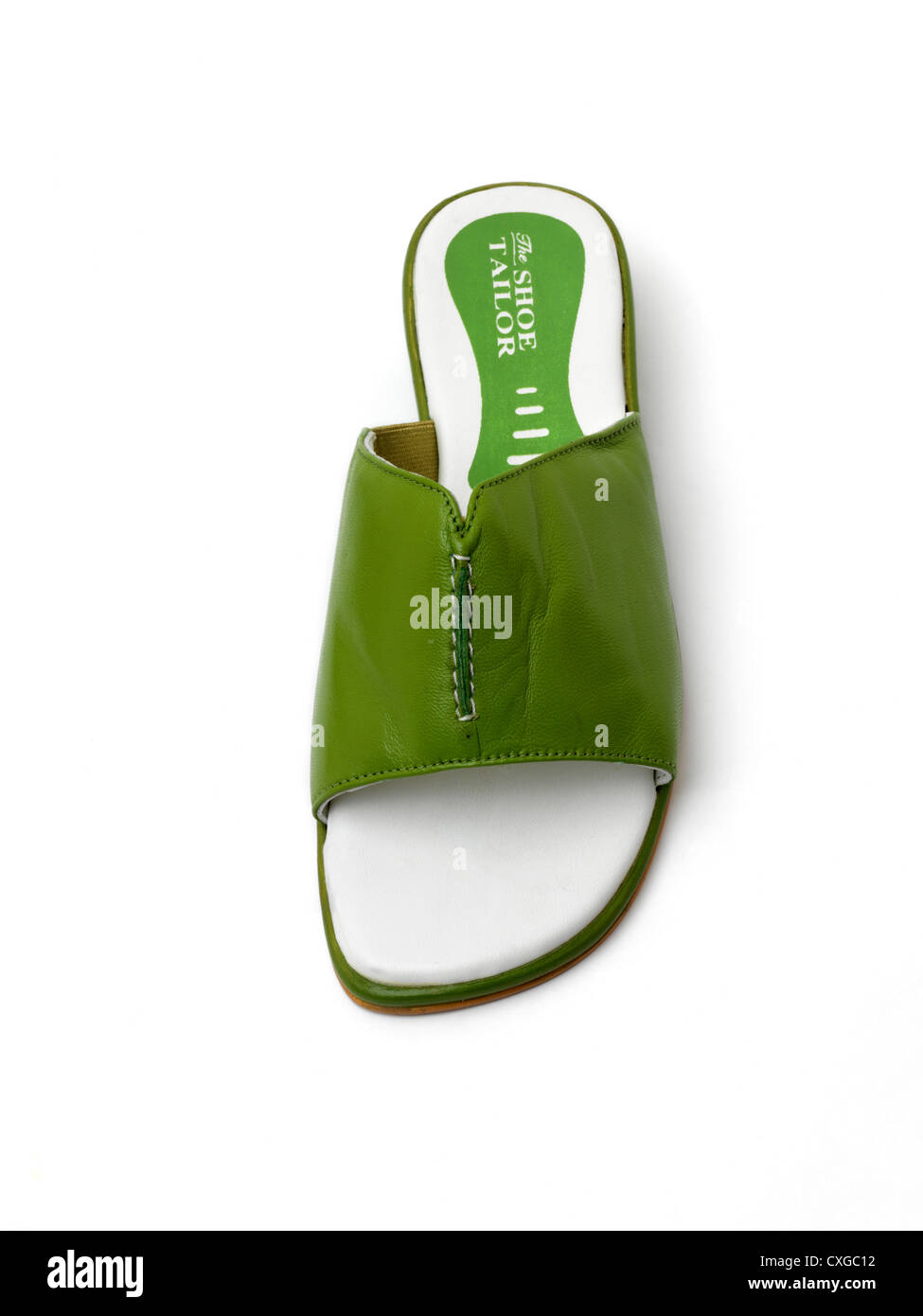 Green Leather Open Toed Sandals - Stock Image