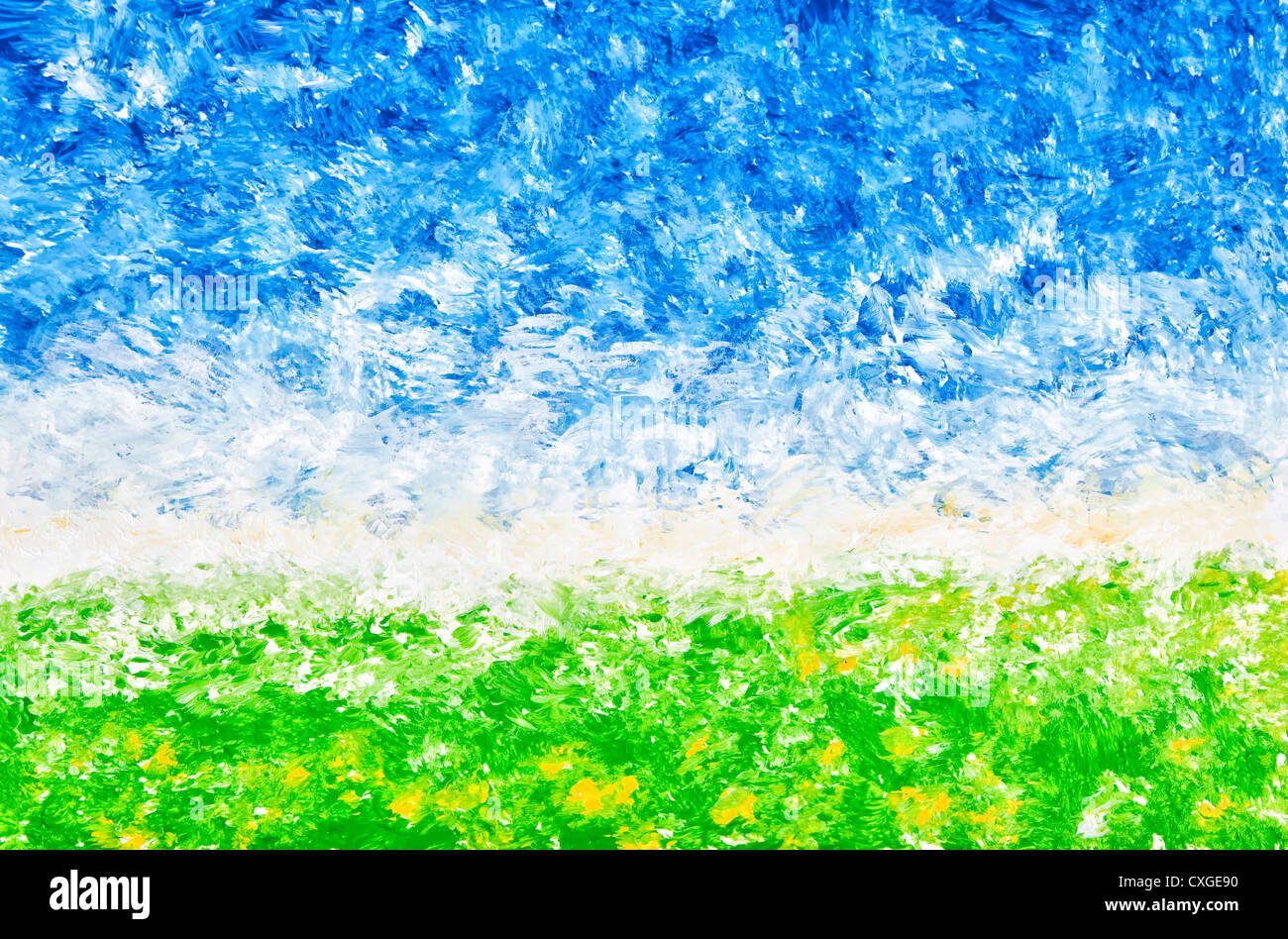 An abstract landscape comprised of rough strokes of acrylic paint. - Stock Image