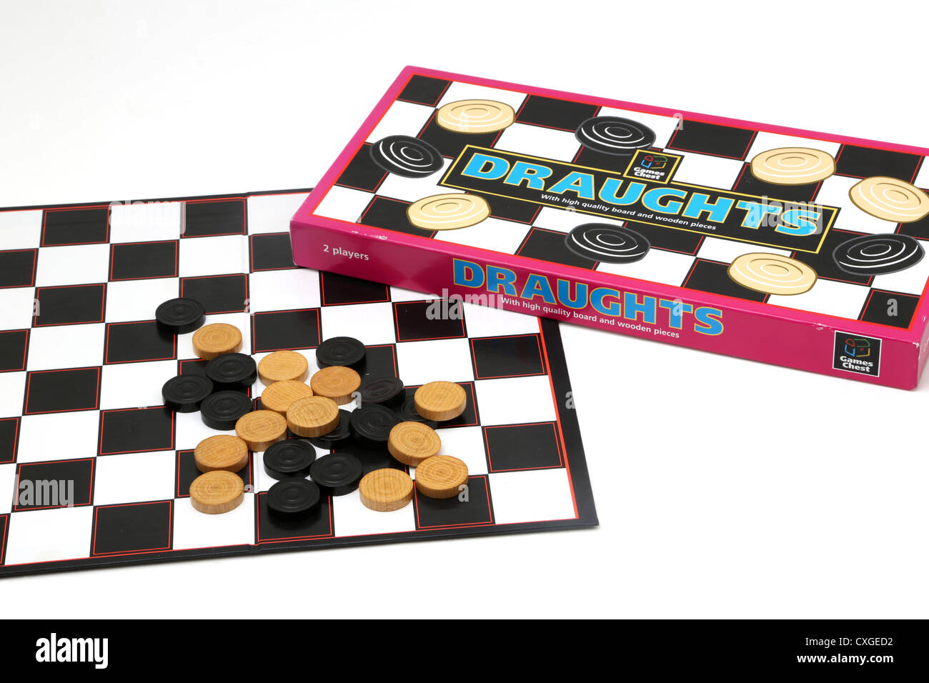 Draughts Board Game And Wooden Discs - Stock Image