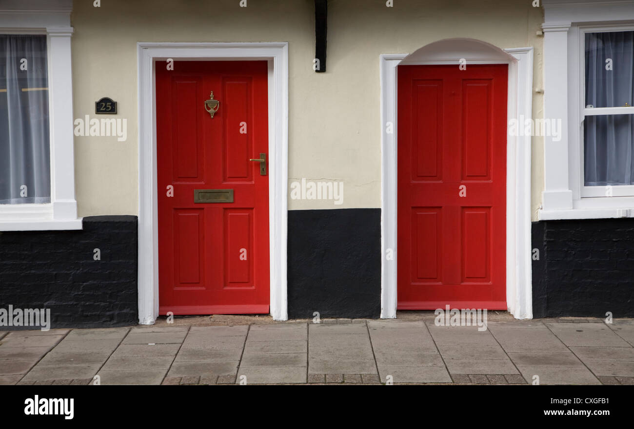 Two red doors - Stock Image