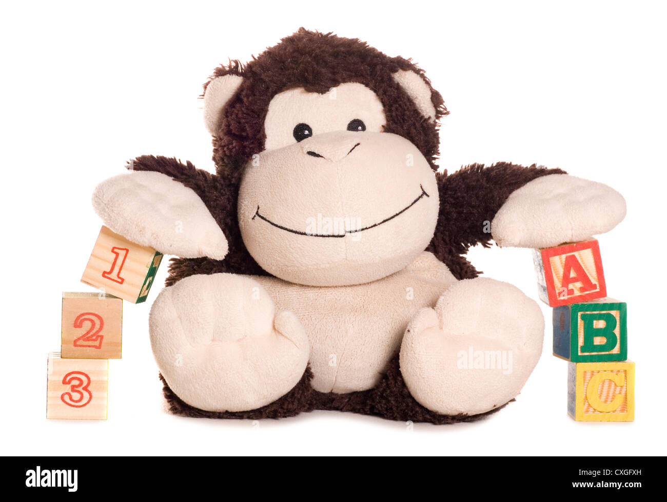 Abc and 123 blocks with soft toy monkey studio cutout - Stock Image