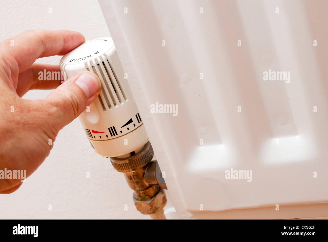 temperature control valve on a radiator - Stock Image