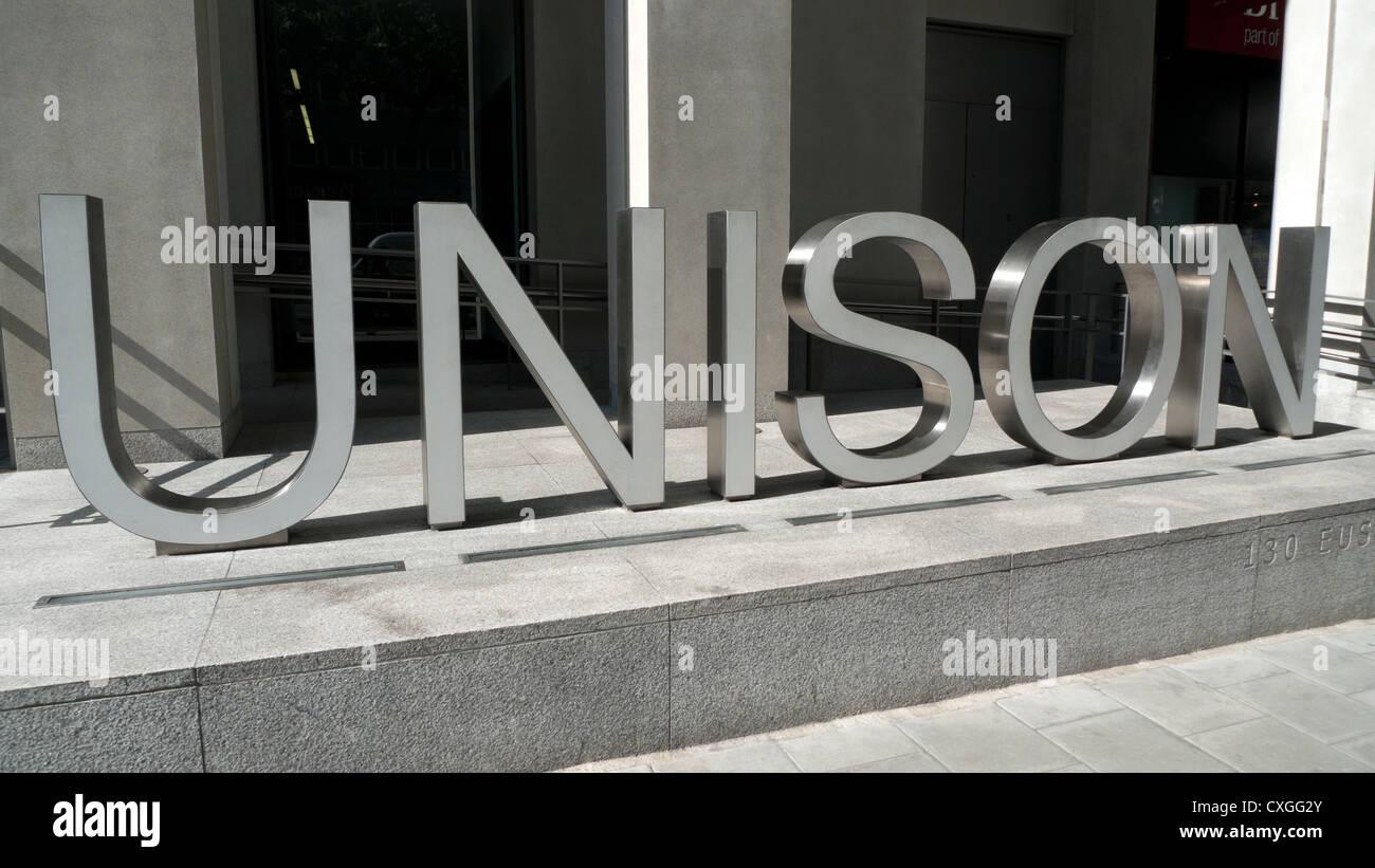 Unison sign outside trade union headquarters on Euston Road London KATHY DEWITT - Stock Image