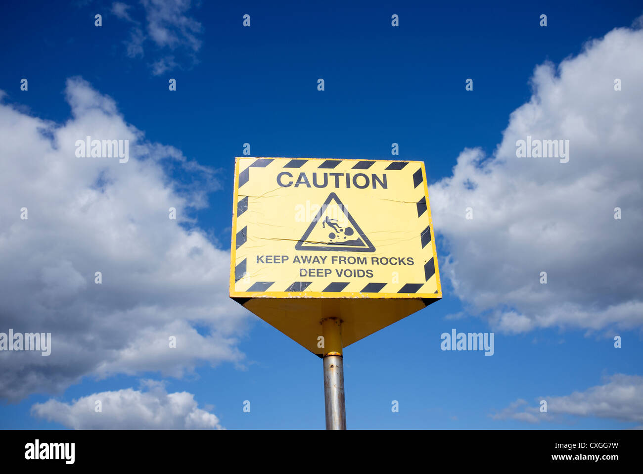 caution keep away from rocks sign - Stock Image