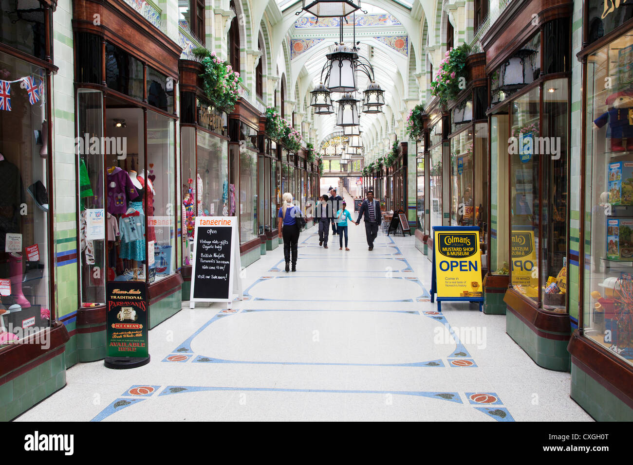Colmans Mustard Shop and Museum in Royal Arcade Norwich Norfolk England - Stock Image