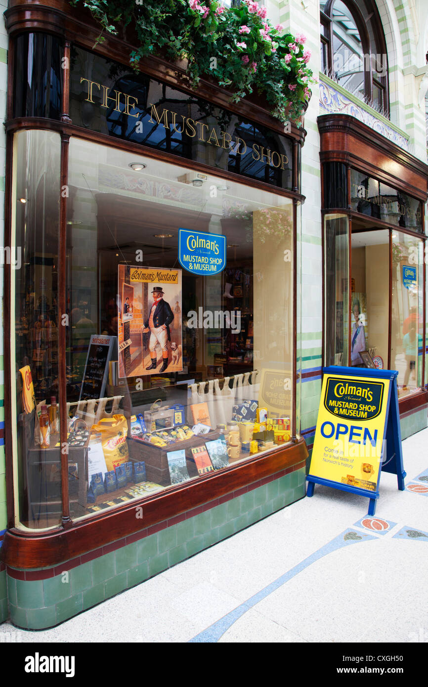 Colmans Mustard Shop and Mseum in Royal Arcade Norwich Norfolk England - Stock Image