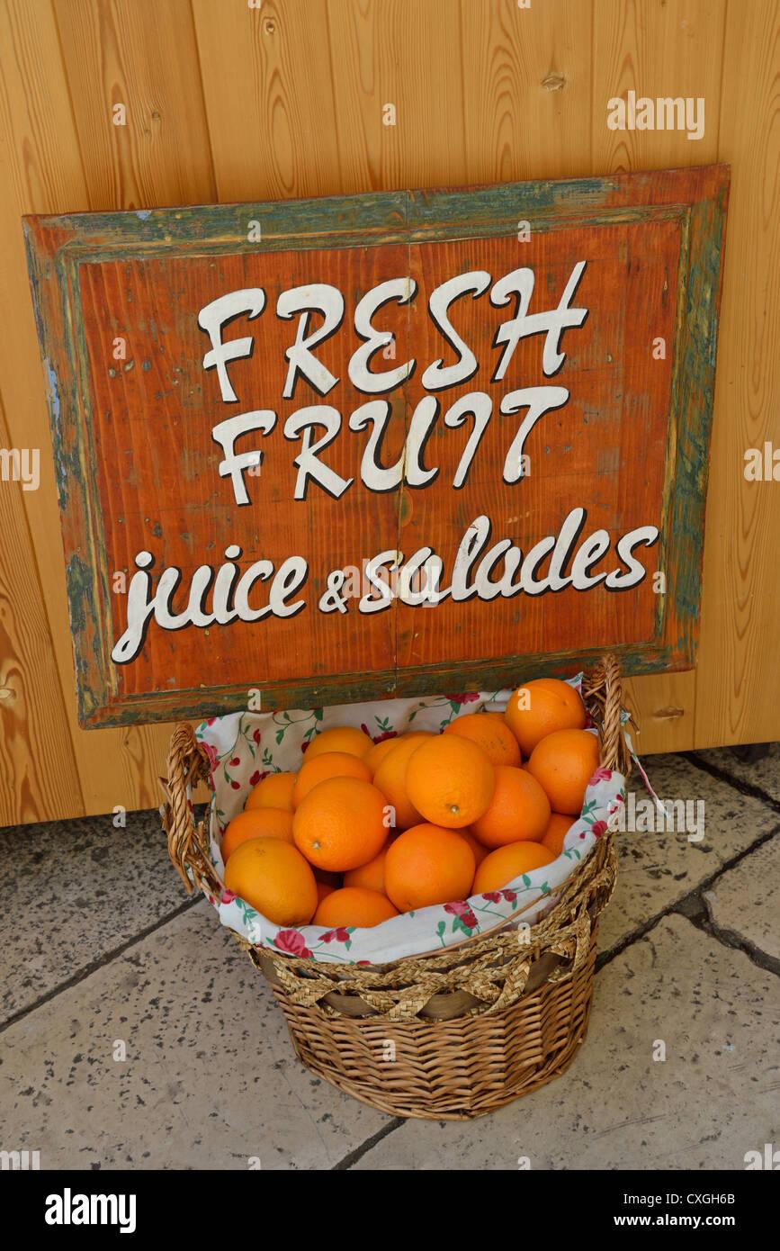 Fresh fruit basket by stall,  Split, Split-Dalmatia County, Croatia - Stock Image
