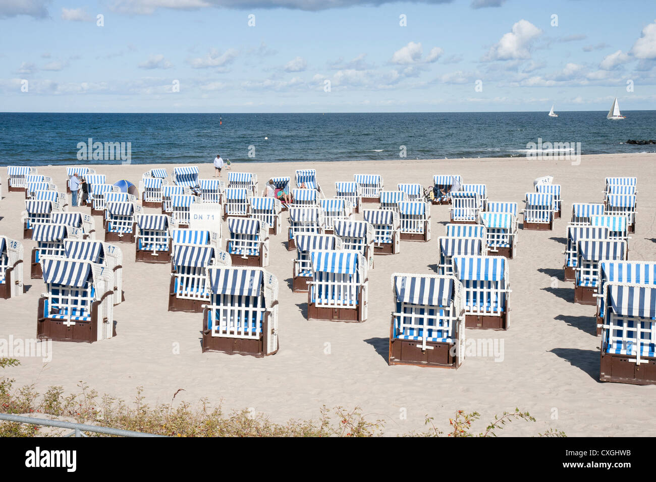 Kuhlungsborn Ost, Germany with beach deckchairs or Strandkorb and the Baltic - Stock Image