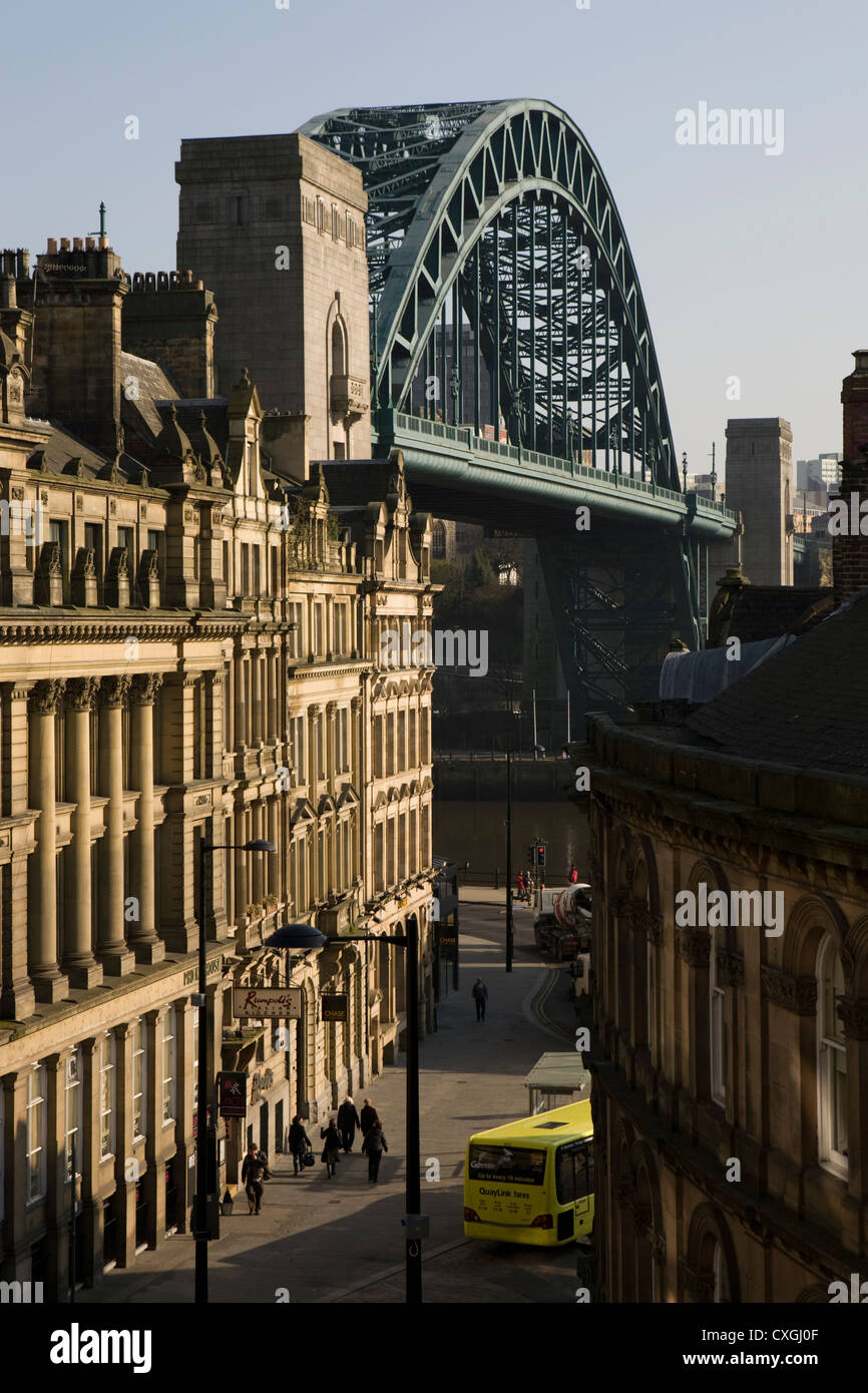 Newcastle upon Tyne's iconic Tyne Bridge and Quayside from Dean Street - Stock Image