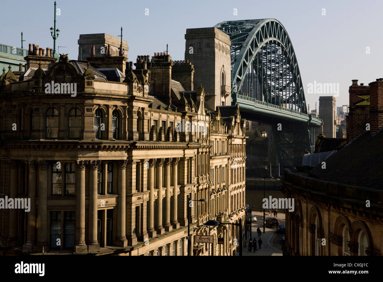 Newcastle upon Tyne's iconic Tyne Bridge and Quayside from Dean Street Stock Photo
