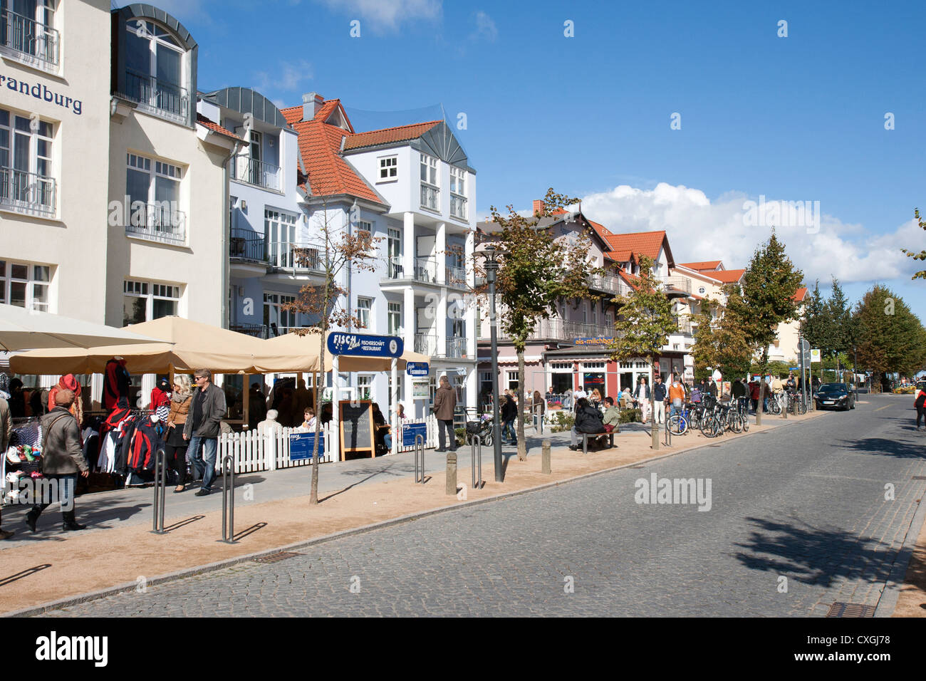Kuhlungsborn Ost, Germany with the main street - Stock Image