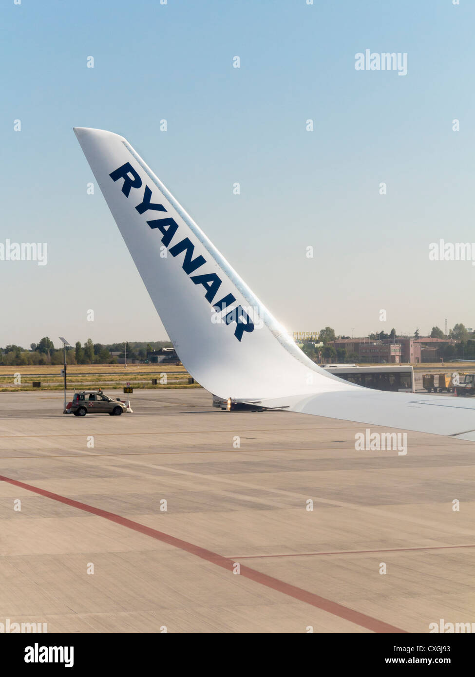 Aircraft winglet carrying the name Ryanair, Italy - Stock Image
