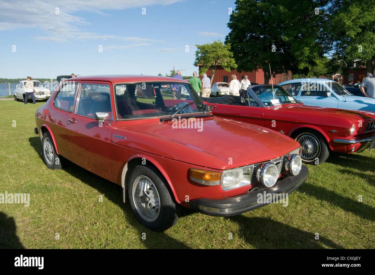 saab 99 turbo with inca wheels sweden swedish classic car cars - Stock Image