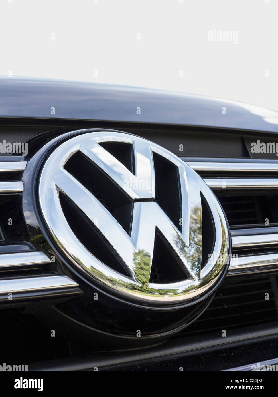 Close up of a chrome Volkswagen VW logo on a car Stock Photo