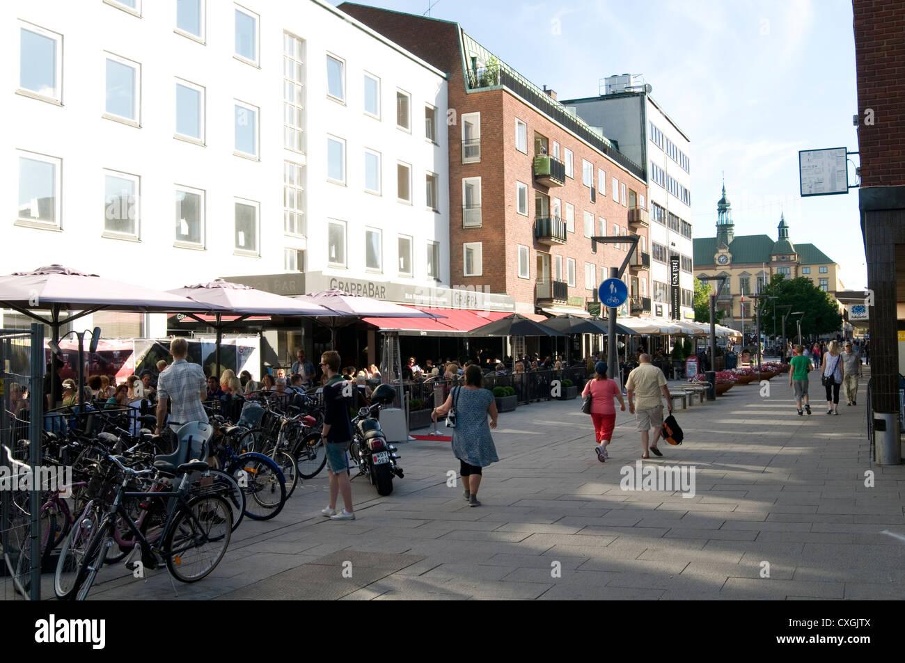 eskilstuna sweden street scene swedish town bar bars culture town center centre - Stock Image