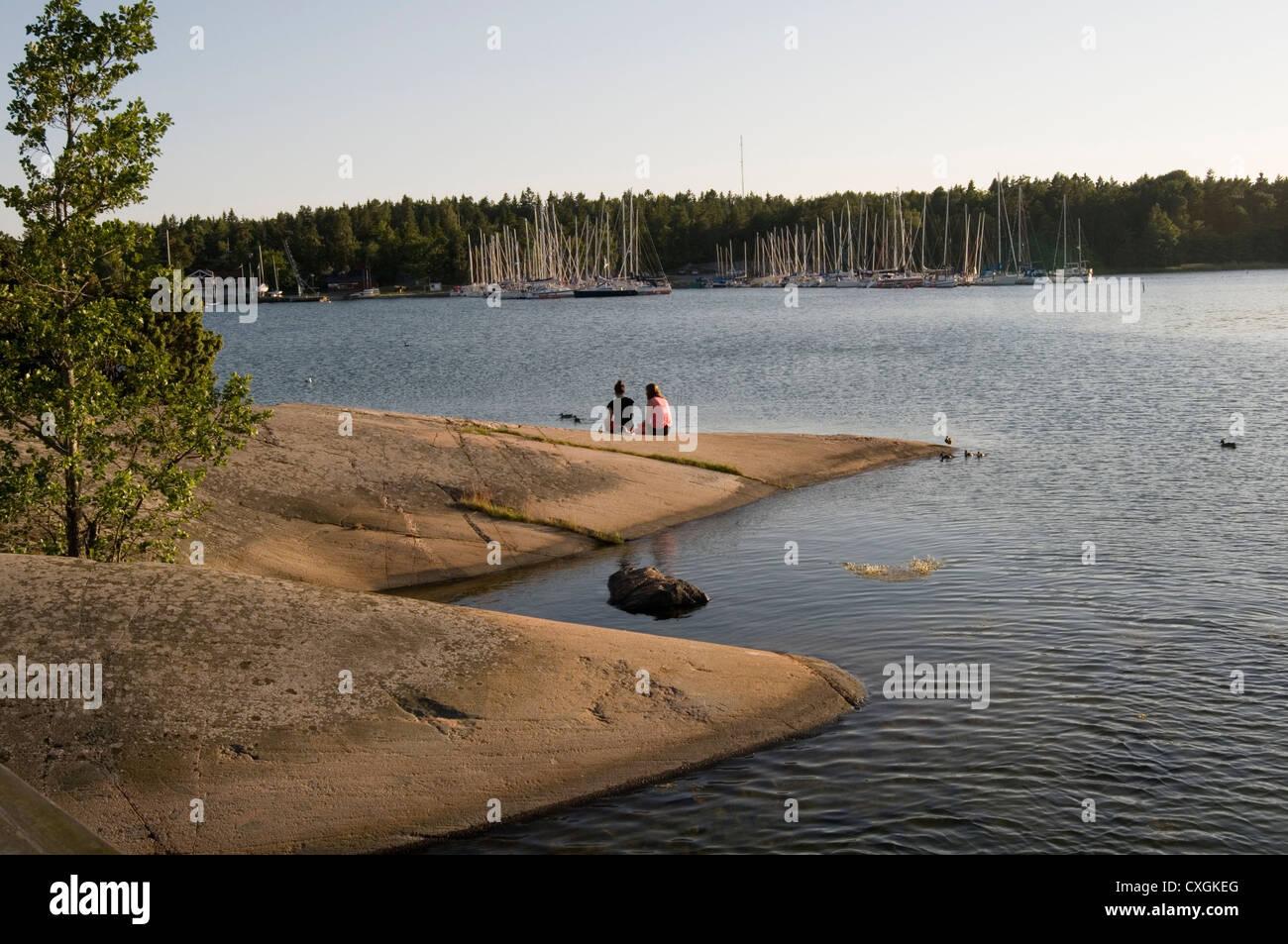 Lysingsbadet  vastervik kalmar county sweden swedish resort summer summertime sunset evening long light evenings - Stock Image
