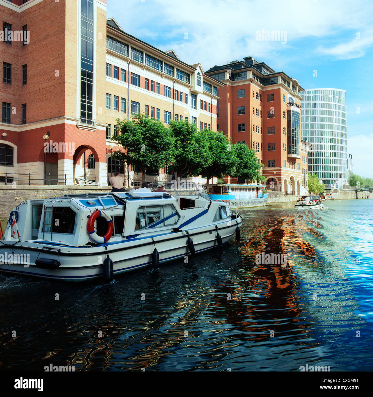 Modern offices overlooking the Floating Harbour near Avon Street and Temple Quay, Bristol, England - Stock Image