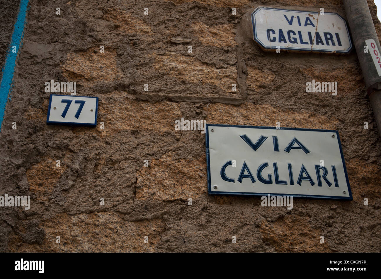 'Street plate' in Gavoi Sardinia Italy - Stock Image