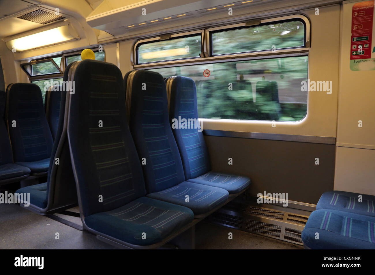 Interior Of Empty Train Carriage England - Stock Image