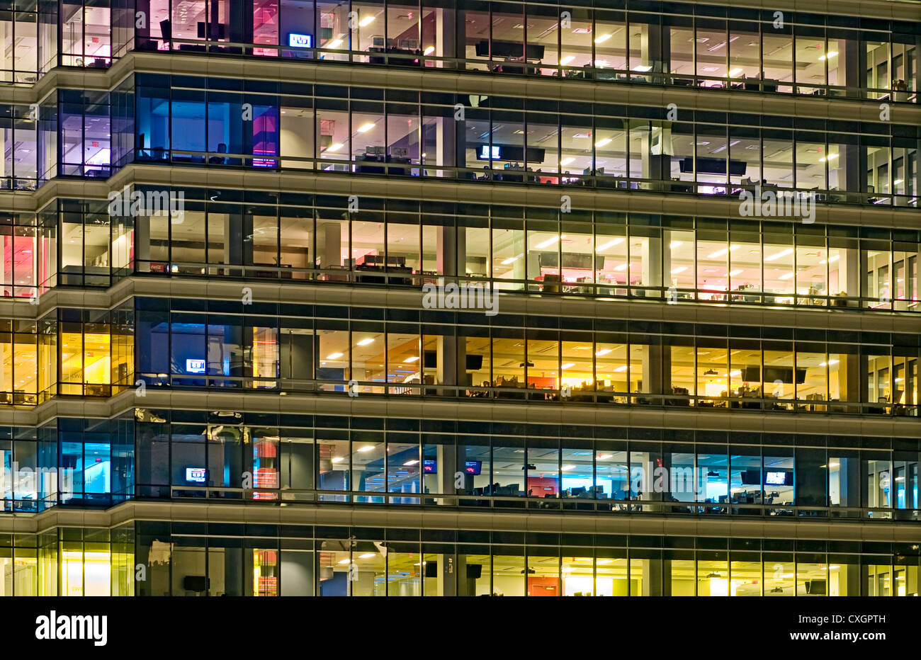 Empty Office Tower at Night. - Stock Image