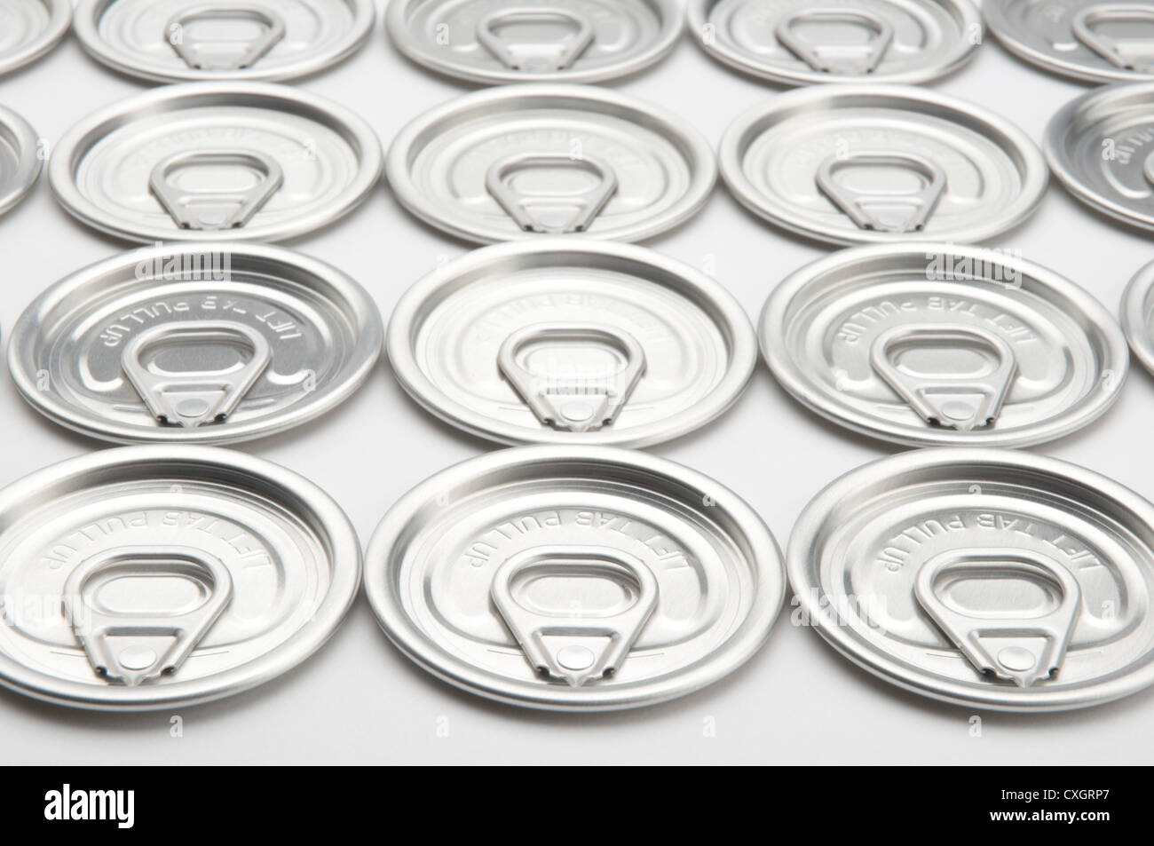 Tin can pull tabs - Stock Image